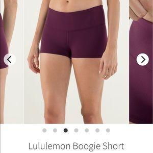 Lululemon Boogie shorts, plum